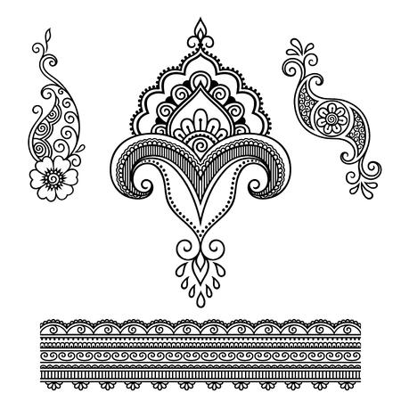 Henna tattoo bloem template.Mehndi. Stock Illustratie