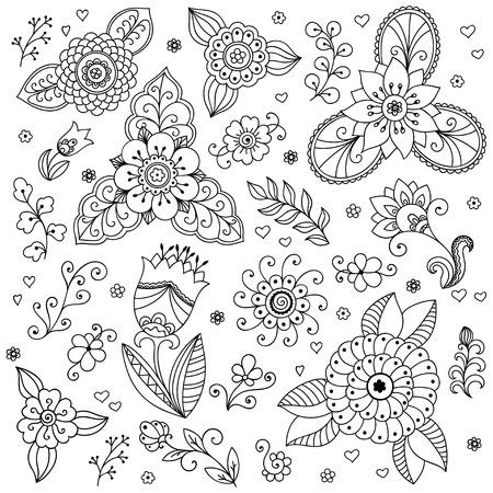Vector flower pattern. le style de griffonnage, le printemps floral background.