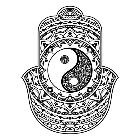 hamsa: Vector hamsa hand drawn symbol. Yin-yang decorative symbol