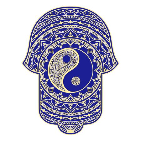 kabbalah: Vector hamsa hand drawn symbol. Yin-yang decorative symbol