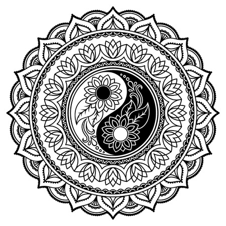 yan: Vector henna tatoo mandala. Yin-yang decorative symbol. Mehndi style. Illustration