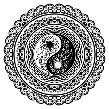 Vector henna tatoo mandala. Yin-yang decorative symbol. Mehndi style. Illustration