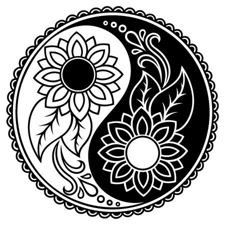 Yin-Yang-Symbol dekorativ. Hand Vintage-Stil Design-Element gezeichnet.