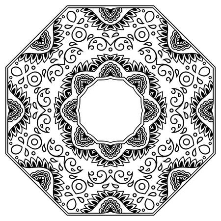 Vector henna tatoo mandala. Mehndi style.