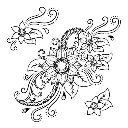 Henna tattoo bloem template.Mehndi.