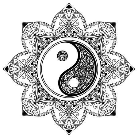 Vector henna tatoo mandala. Yin-yang symbole décoratif. le style Mehndi. Vecteurs