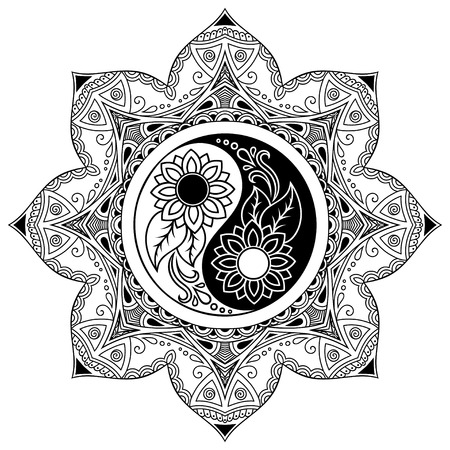 Vector henna tatoo mandala. Yin-yang decorative symbol. Mehndi style. Stock Illustratie