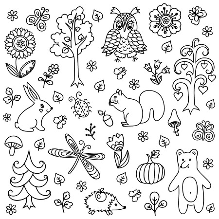 bugs bunny: Vector elements in doodle childish style, handdrawn animals and insects, trees and plants. Design element in Doodles style. Pattern for coloring book. Illustration