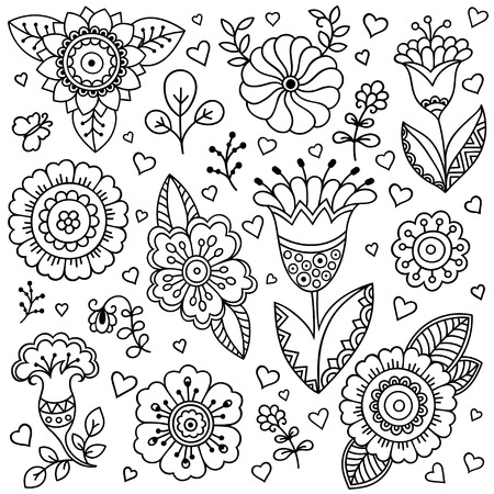 spring: Vector flower pattern. Doodle style, spring floral background. Design element in Doodles style. Pattern for coloring book.