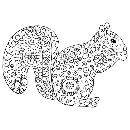 Stylized squirrel sketch for coloring book poster print or tattoo hand