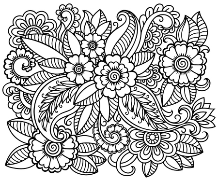 Doodle pattern in black and white. Floral pattern for coloring book.  art drawing pattern. 矢量图像
