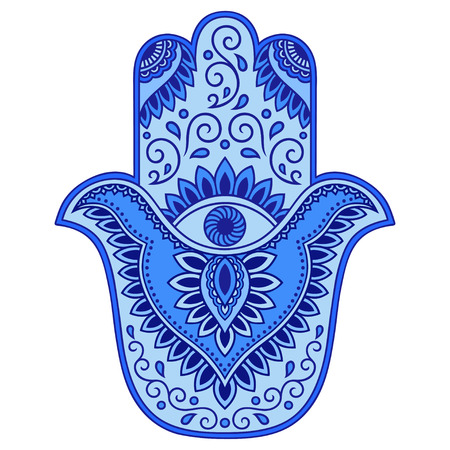 Color vector hamsa hand drawn symbol. Illustration