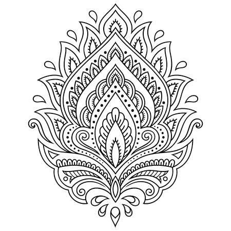 Henna plantilla de la flor del tatuaje en estilo indio. Étnico floral de Paisley - Lotus. estilo mehndi. Foto de archivo - 61109155