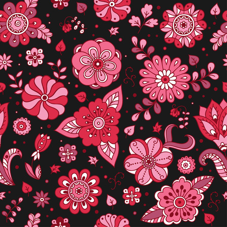 Seamless color flower pattern. Ornamental pattern for the decoration of fabrics, cards, backgrounds.