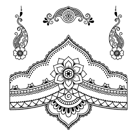 Henna tattoo bloem template.Mehndi. Stock Illustratie