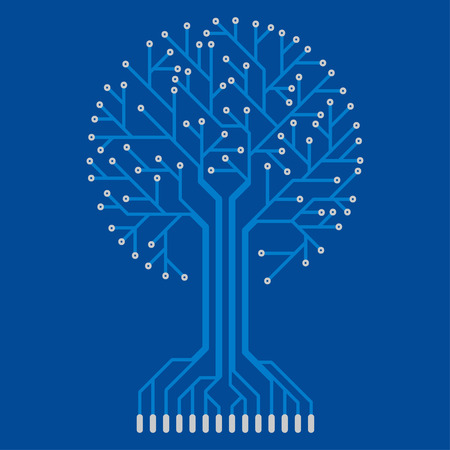 electronic board: The electronic circuit in the form of a tree. Illustration
