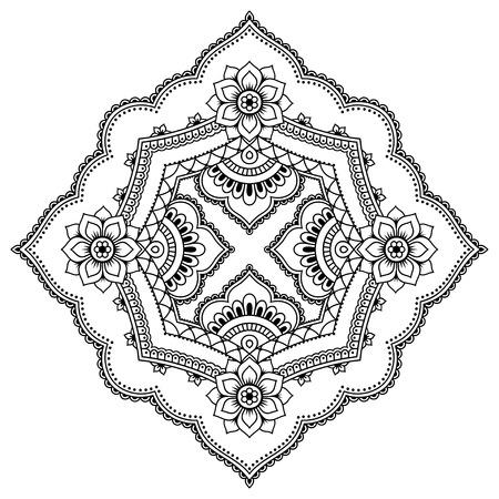 Mandala De Tatuaje De Henna En Estilo Mehndi. Patrón De Libro Para ...