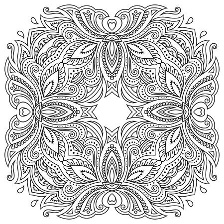 Henna tattoo mandala in mehndi style. Pattern for coloring book. Hand drawn vector illustration isolated on white background. Design element in Doodles style.