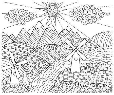 Doodle Patrón En Blanco Y Negro. Paisaje De Invierno - Por Carretera ...
