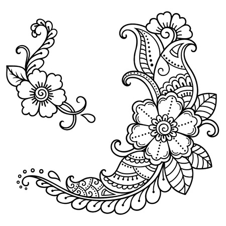 Henna tattoo flower template. Mehndi style.Decorative pattern in oriental style.