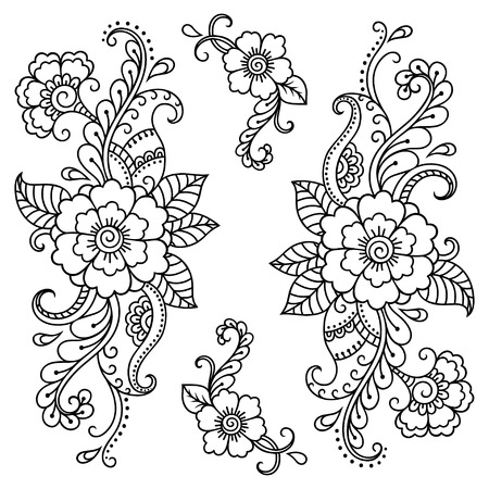 Henna tattoo flower template. Mehndi style.Decorative pattern in oriental style.