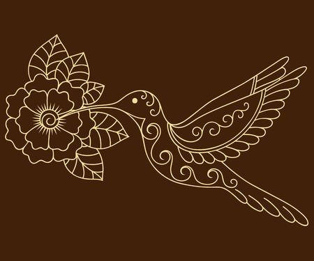 Henna fleur de tatouage et de colibri modèle. le style Mehndi. Jeu de motifs décoratifs dans le style oriental.