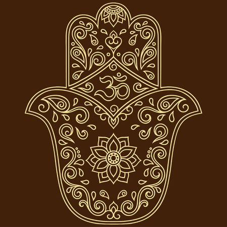 Vector hamsa hand drawn symbol. OM decorative symbol. Decorative pattern in oriental style for the interior decoration and drawings with henna. The ancient symbol of the Hand of Fatima.