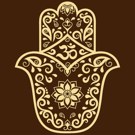 fatima: Vector hamsa hand drawn symbol. OM decorative symbol. Decorative pattern in oriental style for the interior decoration and drawings with henna. The ancient symbol of the Hand of Fatima.