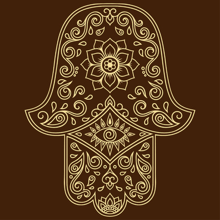 interior decoration: Vector hamsa hand drawn symbol. Decorative pattern in oriental style for the interior decoration and drawings with henna. The ancient symbol of the Hand of Fatima.