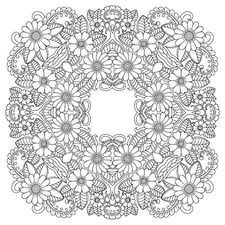 Vector henna tatoo mandala. Mehndi style.Decorative pattern in oriental style. Vectores