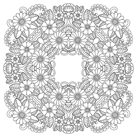 Vector henna tatoo mandala. Mehndi style.Decorative pattern in oriental style. Illusztráció