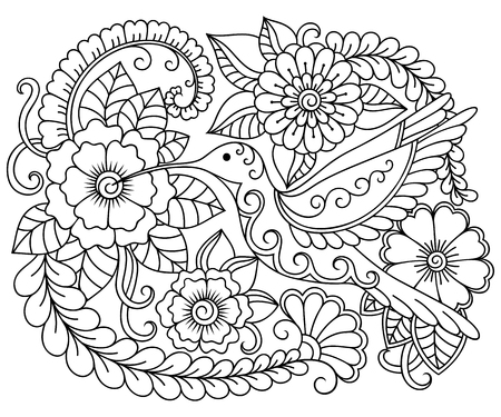 Doodle pattern in black and white. Floral pattern for coloring book. Floral and bird colibri - coloring book for children and adults ..