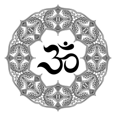 A circular pattern in the form of a mandala. OM decorative symbol. Mehndi style. Decorative pattern in oriental style. Henna tattoo pattern in Indian style.