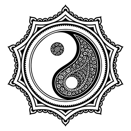 hormone: A circular pattern in the form of a mandala. Yin-yang decorative symbol. Ancient sign of a hormone. Mehndi style. Decorative pattern in oriental style. Henna tattoo pattern in Indian style. Illustration