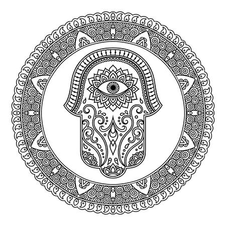 premises: Hamsa hand drawn symbol in mandala. Mehndi style.Decorative pattern in oriental style. For henna tattoos, and decorative design documents and premises.