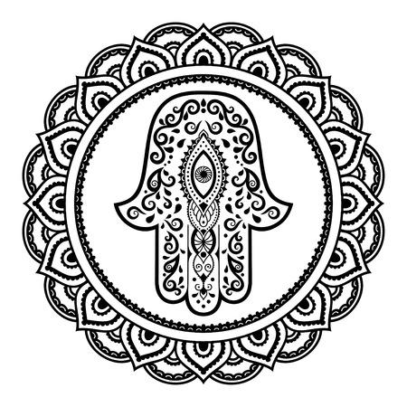 ハムサ手曼荼羅に描かれたシンボル。一時的な刺青スタイル。オリエンタル スタイルで装飾的なパターンは。ヘナの入れ墨と装飾的な設計文書と社  イラスト・ベクター素材