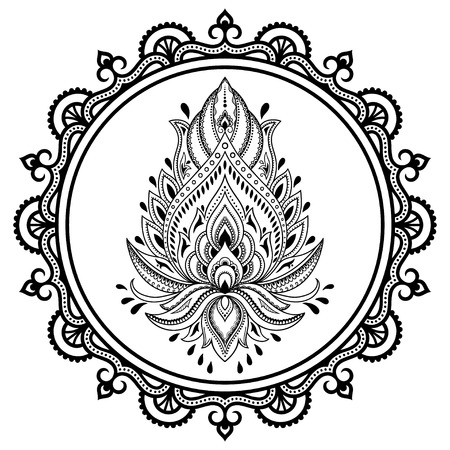 Eine Kreisförmige Muster In Form Einer Mandala.Henna Tattoo Blume ...