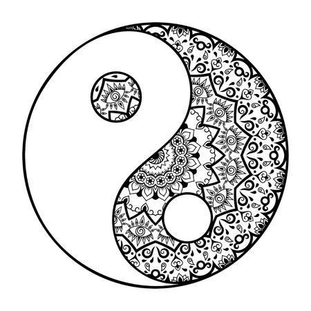 Un motif circulaire sous la forme d'un mandala. Yin-yang symbole décoratif. signe antique d'une hormone. le style Mehndi. Motif décoratif dans le style oriental. motif de tatouage Henna dans le style indien.