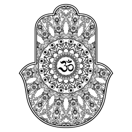 kabbalah: Vector hamsa hand drawn symbol. OM decorative symbol. Decorative pattern in oriental style for the interior decoration and drawings with henna. The ancient symbol of the Hand of Fatima.