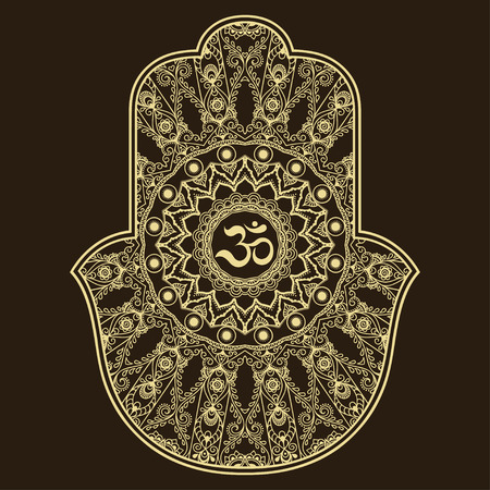 ohm: Vector hamsa hand drawn symbol. OM decorative symbol. Decorative pattern in oriental style for the interior decoration and drawings with henna. The ancient symbol of the Hand of Fatima.