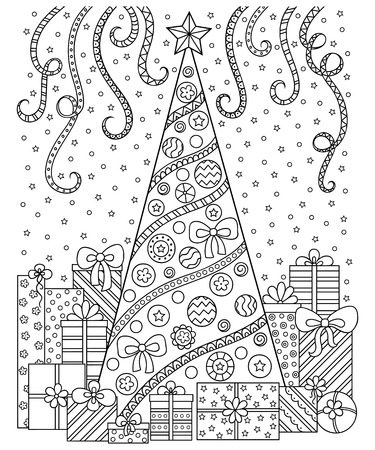 black: Doodle pattern in black and white. Christmas decorations, Christmas tree, gifts, snow and streamers.Festive atmosphere - coloring book for children and adults.