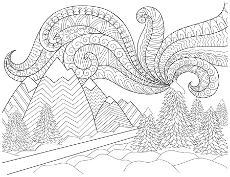 Doodle pattern in black and white. Winter Landscape - road, trees, mountains, northern lights, snow drifts. Landscape Pattern for coloring book. Winter mood - coloring book page for children and adults. 矢量图像