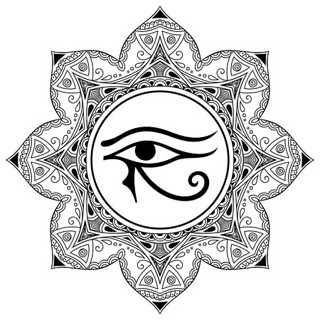 Circular pattern in the form of mandala. The ancient symbol Eye of Horus. Egyptian Moon sign - left Eye of Horus. Mighty Pharaohs amulet. Decorative pattern in oriental style. Иллюстрация