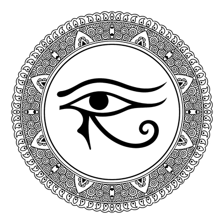 ojo de horus: Circular pattern in the form of mandala. The ancient symbol Eye of Horus. Egyptian Moon sign - left Eye of Horus. Mighty Pharaohs amulet. Decorative pattern in oriental style. Vectores