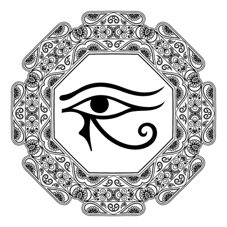 Circular pattern in the form of mandala. The ancient symbol Eye of Horus. Egyptian Moon sign - left Eye of Horus. Mighty Pharaohs amulet. Decorative pattern in oriental style. Vettoriali