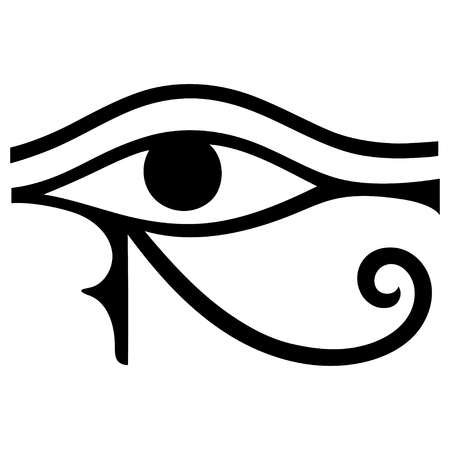 horus: El antiguo símbolo del ojo de Horus. signo lunar egipcio - ojo izquierdo de Horus. Poderoso amuleto faraones. Vectores