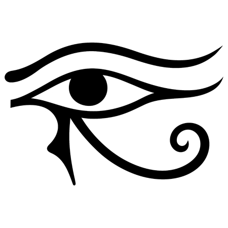 The ancient symbol Eye of Horus. Egyptian Moon sign - left Eye of Horus. Mighty Pharaohs amulet.