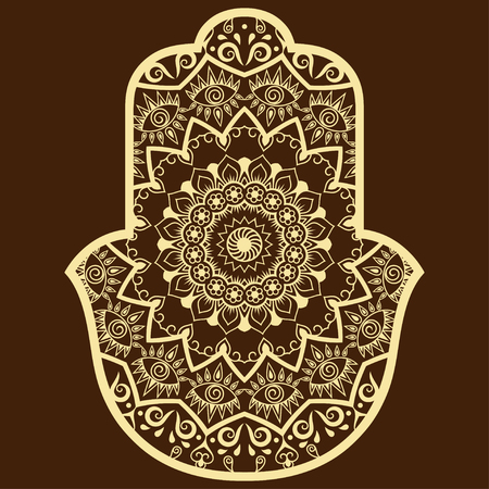 fatima: Vector hamsa hand drawn symbol. Decorative pattern in oriental style for the interior decoration and drawings with henna. The ancient symbol of the Hand of Fatima.