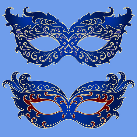 Set of festive masks. Beautiful mask to celebrate Halloween, New Year, Carnival or party. Elements female carnival costume.