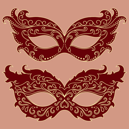 gaz: Set of festive masks. Beautiful mask to celebrate Halloween, New Year, Carnival or party. Elements female carnival costume.